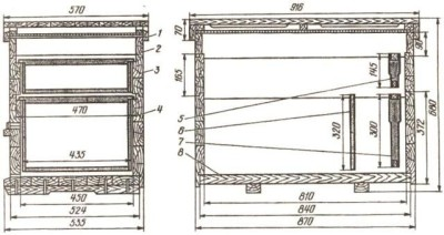 Креслення вулика лежака на 24 рамки
